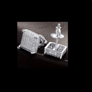 Other - Mens 14k White Gold Sterling Silver Earrings